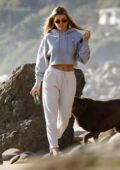 Sofia Richie dresses casual in her sweats while enjoying a walk on the beach in Malibu, California