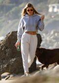 Sofia Richie dresses casual in her sweats while enjoying a walk on the beach in Malibu, California