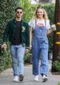 Sophie Turner looks cute in denim overalls as she steps out with Joe Jonas in Los Angeles