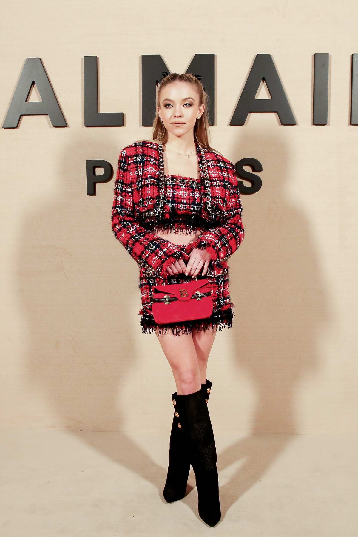 Sydney Sweeney attends the Balmain show, F/W 2020 during Paris Fashion Week in Paris, France