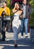 Vanessa Hudgens steps out for lunch wearing a white strawberry-patterned dress in Los Feliz, California