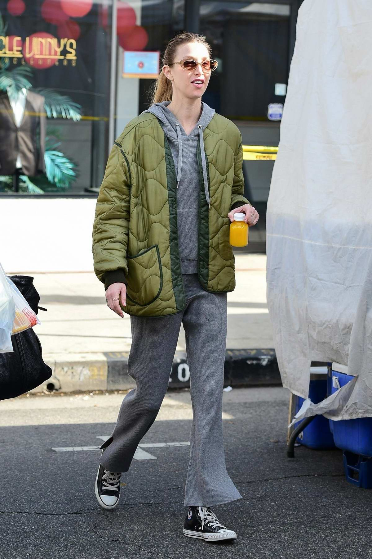 Whitney Port sports matching grey sweats and a green jacket while out at the Farmers Market in Studio City, California