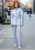 Zoey Deutch looks pretty in blue checkered suit while promoting her new movie 'Buffaloed' on Build Series in New York City
