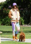 Alessandra Ambrosio looks comfy in her tie-dye sweatsuit while out for stroll with Nicolo Oddi in Santa Monica, California