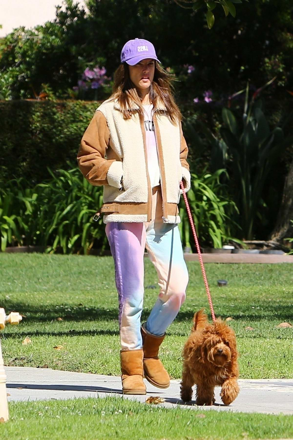 Alessandra Ambrosio looks comfy in her tie-dye sweatsuit while out for stroll with Nicolo Oddi in Santa Monica, California