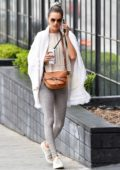 Alessandra Ambrosio looks fit in grey leggings as she hits the gym in Brentwood, California
