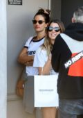 Alessandra Ambrosio rocks a casual look for lunch with friends at Crossroads in West Hollywood, California