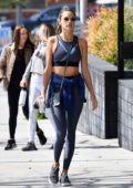 Alessandra Ambrosio shows off her amazing figure in a blue crop top and leggings as she hits the gym in Los Angeles