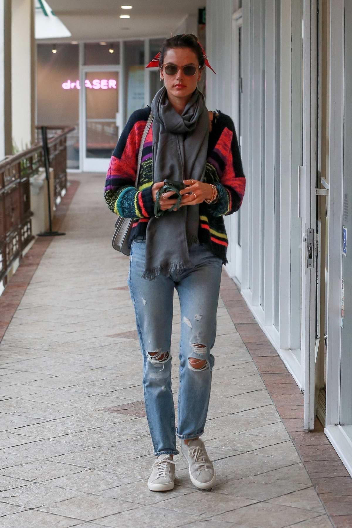 Alessandra Ambrosio steps out for lunch at Sushi Park in West Hollywood, California