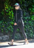 Ali Larter sports all-black athleisure while out for a walk in Pacific Palisades, California