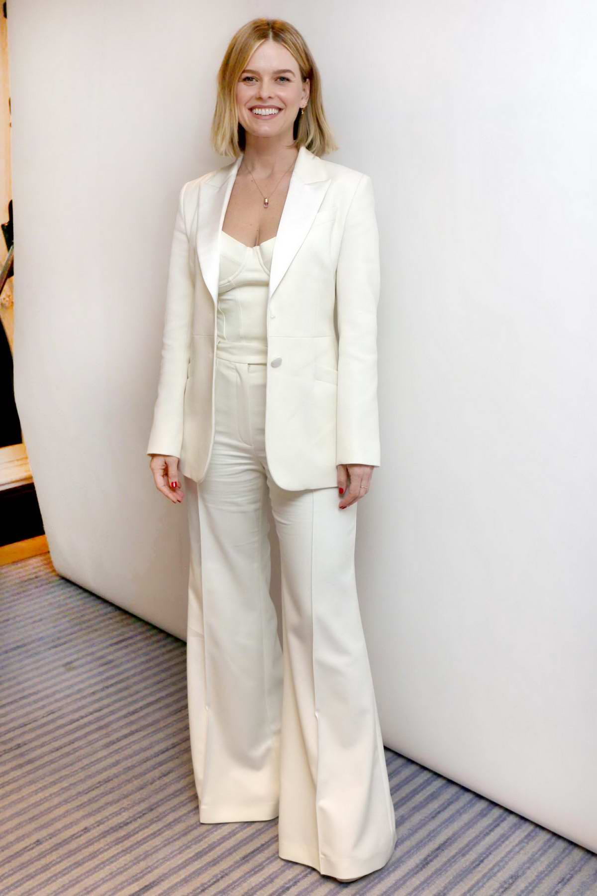 Alice Eve attends a press conference for 'Belgravia' in London, UK
