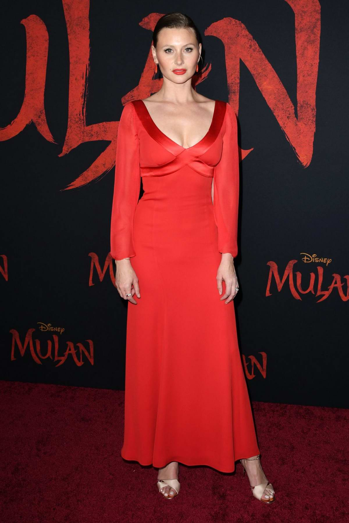 Aly Michalka attends the Premiere of Disney's 'Mulan' at Dolby Theatre in Los Angeles