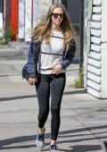 Amanda Seyfried looks fit in black leggings as she hits up a cafe in Studio City, California