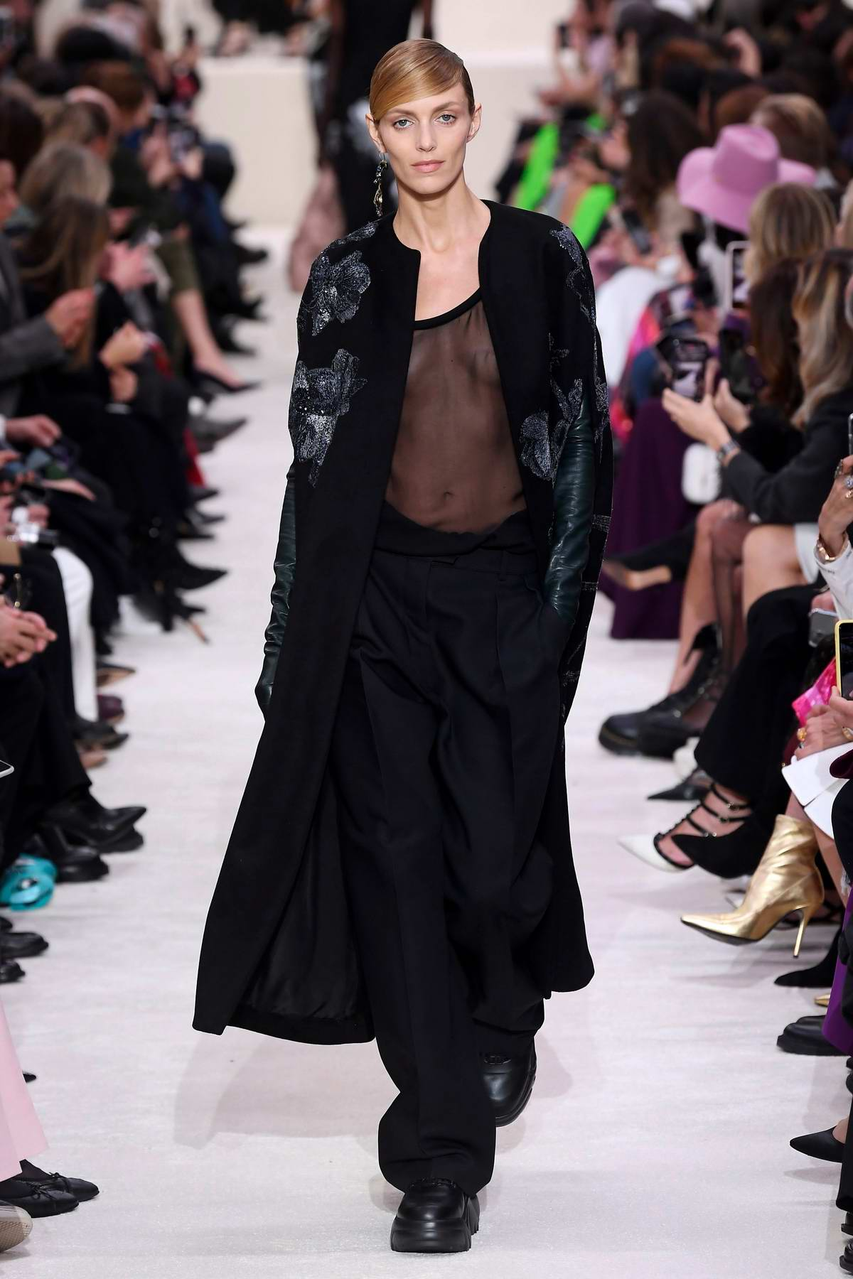Anja Rubik walks the runway at Valentino show, F/W 2020 during Paris Fashion Week in Paris, France