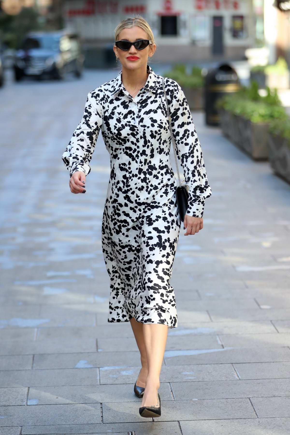 Ashley Roberts looks great in Dalmatian print dress as she leaves Heart Radio in London, UK