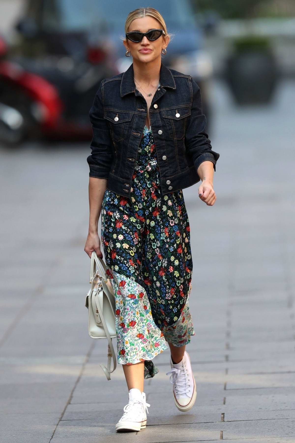 Ashley Roberts looks lovely in a summer dress and a denim jacket as she leaves Global Radio in London, UK