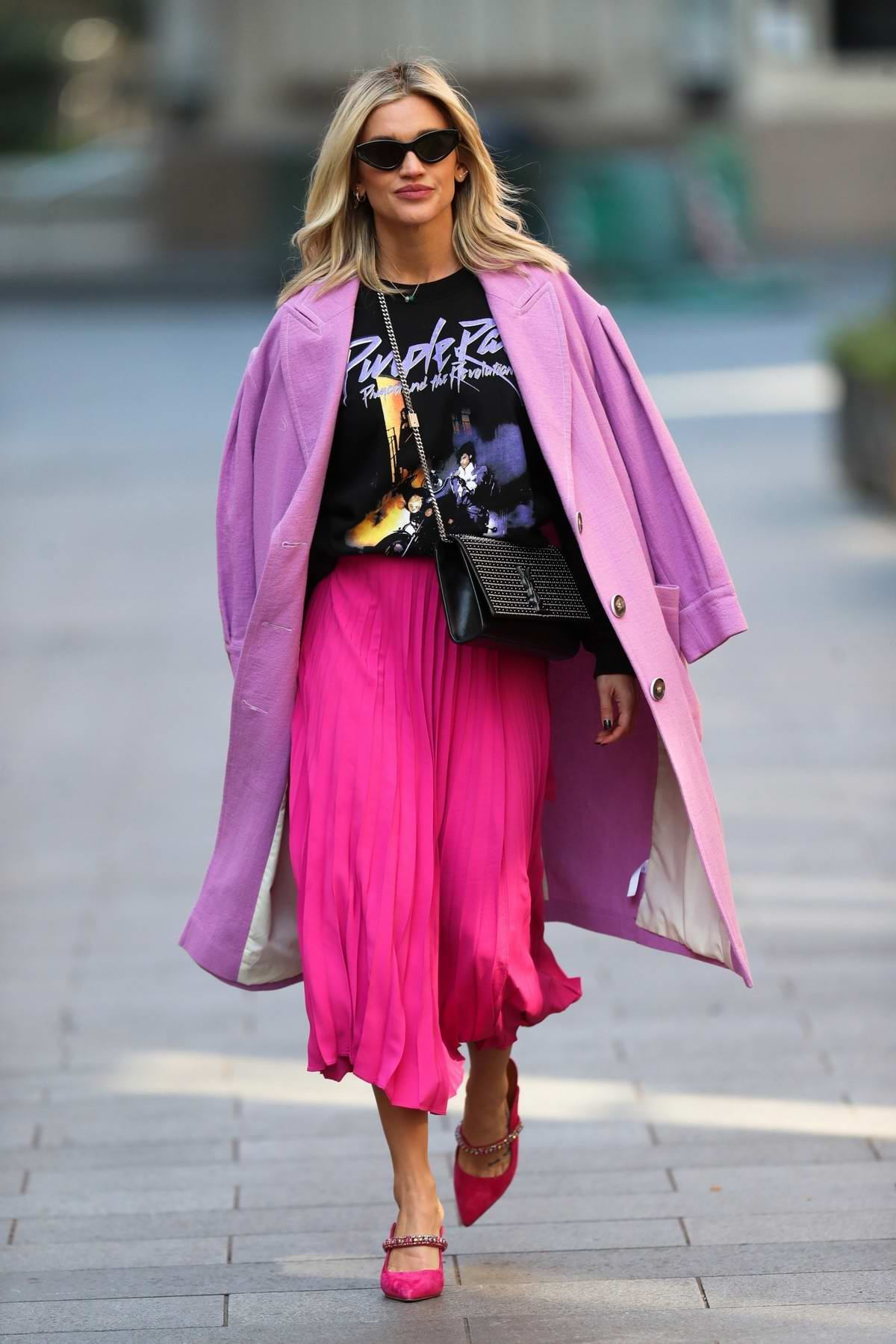 Ashley Roberts looks pretty in bubble gum pink skirt while leaving Heart Radio Show in London, UK