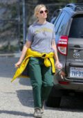 Beth Behrs looks exhausted after a morning hike up in the Hollywood Hills, California