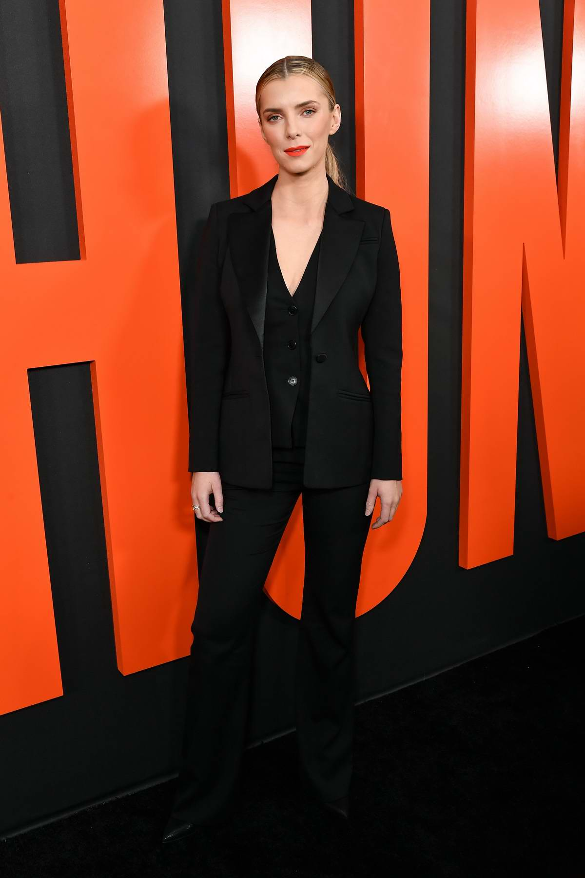 Betty Gilpin attends the Premiere of 'The Hunt' at ArcLight Hollywood in Hollywood, California