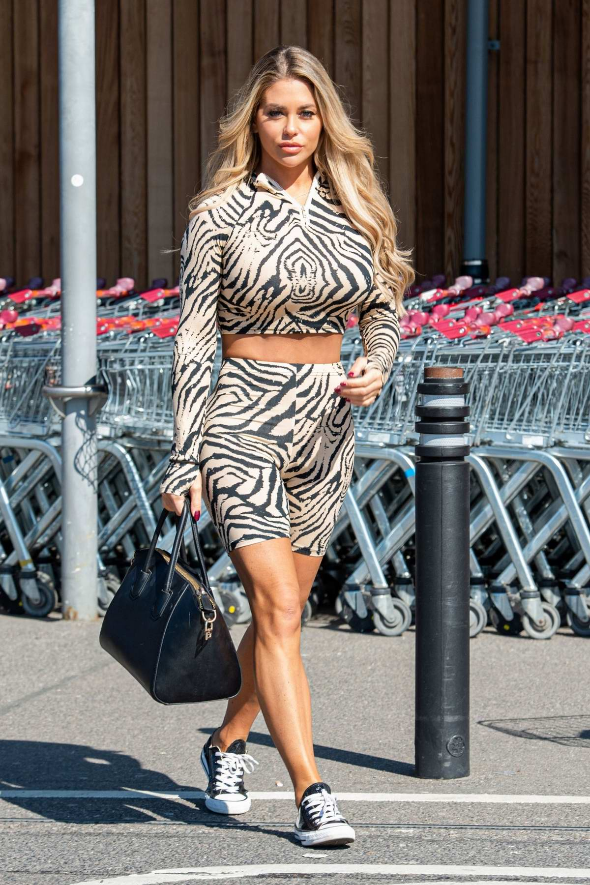 Bianca Gascoigne sports zebra print outfit while out for some shopping at Sainsburys in Gravesend, Kent, UK