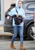 Brie Larson spotted in a blue hoodie, jeans and UGG boots as she leaves Whole Foods in Los Angeles