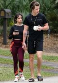 Camila Cabello and Shawn Mendes hold hands as they step out for a morning walk in Miami, Florida