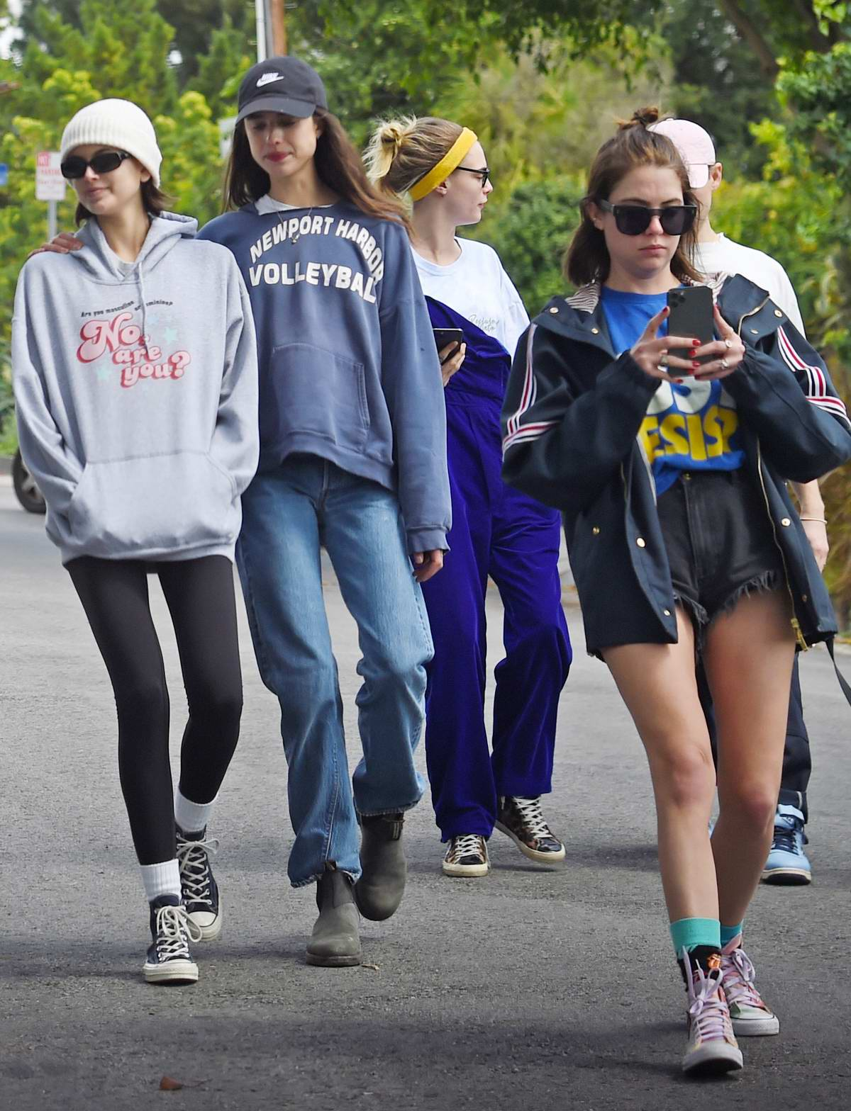 Cara Delevingne, Ashley Benson, Kaia Gerber, and Margaret Qualley head out for a walk and some fresh air in Los Angeles