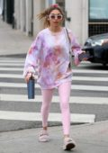 Chantel Jeffries wears a pink tie-dye sweatshirt and leggings as she leaves a yoga session in West Hollywood, California