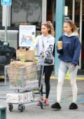 Chantelle Jeffries dresses down in a sweatshirt and leggings while stocking up on groceries at Whole Foods in Los Angeles