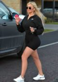 Chloe Ferry shows off her curves in black legging shorts as she steps out in Newcastle, UK