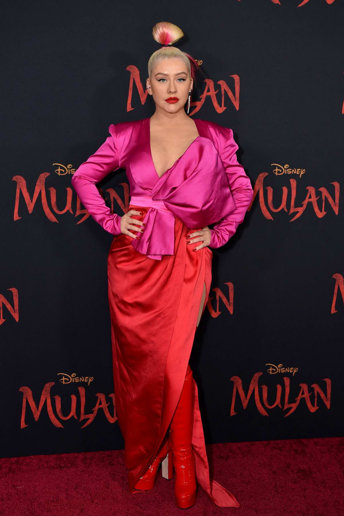 Christina Aguilera attends the Premiere of Disney's 'Mulan' at Dolby Theatre in Los Angeles