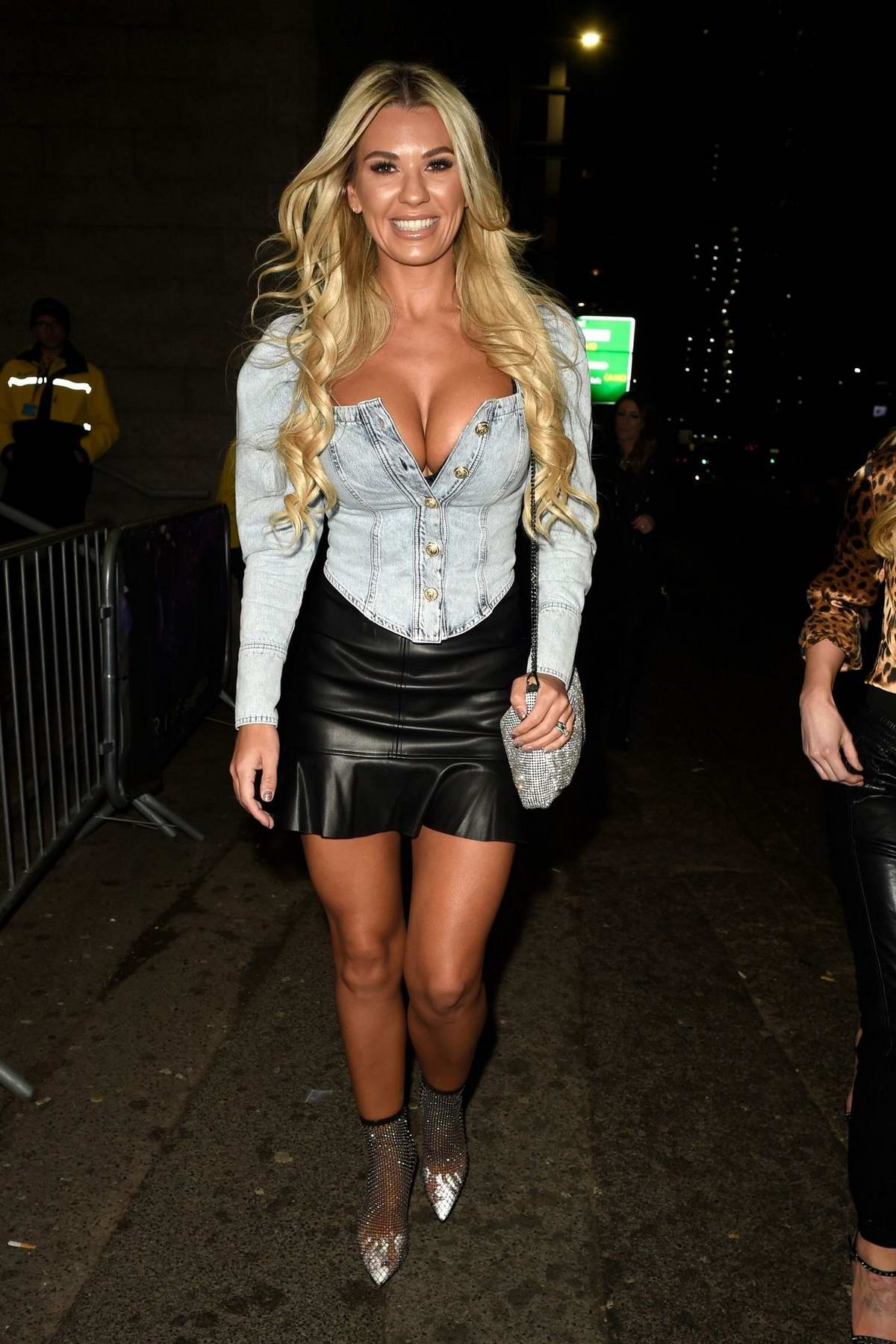 Christine McGuinness is all smiles as she arrives at The Manchester Arena in Manchester, UK