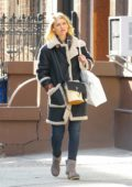 Claire Danes seen during a solo stroll while shopping in New York City