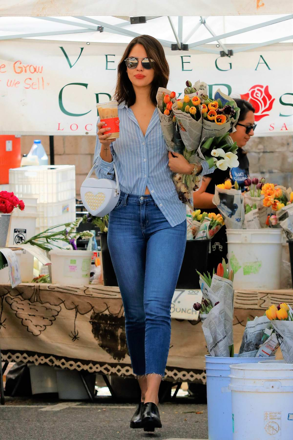 Eiza Gonzalez looks stunning while shopping flowers at a Farmers Market in Los Angeles
