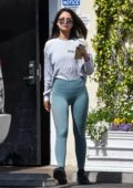 Eiza Gonzalez rocks a white top and teal blue leggings while out for lunch at Sweet Butter Kitchen in Sherman Oaks, California