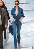 Eiza Gonzalez rocks double denim as she arrives at 'Jimmy Kimmel Live' in Hollywood, California