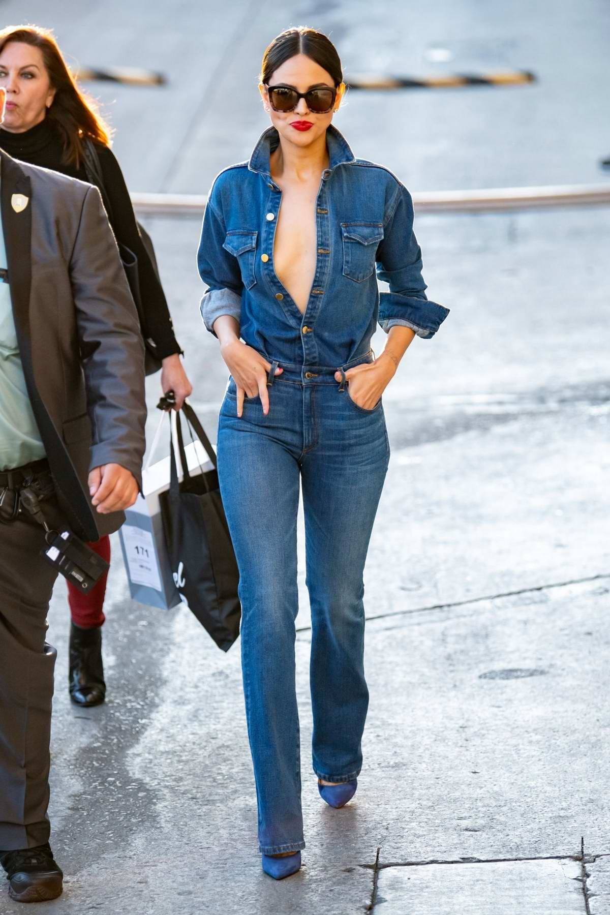 Eiza Gonzalez rocks double denim as she arrives at 'Jimmy Kimmel Live' in Hollywood, California