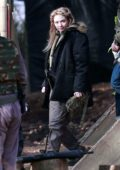 Eleanor Tomlinson seen filming scenes for the upcoming Sky Drama Intergalactic in Alderley Edge, Cheshire, UK