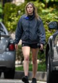 Elizabeth Olsen dons a jacket and shorts while out on stroll with Robbie Arnett in Sherman Oaks, California