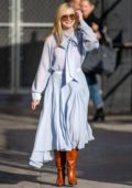 Elle Fanning seen wearing a pastel blue dress as she arrives at 'Jimmy Kimmel Live' in Hollywood, California