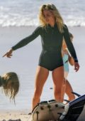 Elsa Pataky enjoys a day of surfing at the beach in Byron Bay, Australia