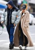 Emily Ratajkowski and Sebastian Bear-McClard walk their dog Colombo in New York City