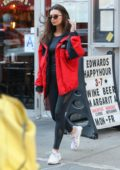 Emily Ratajkowski rocks a red jacket while heading to the 'Strong by Zumba' event in New York City