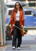 Emily Ratajkowski shows off her street style in a burnt orange leather coat while out walking her dog in New York City