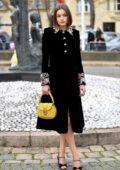 Emma Corrin attends the Miu Miu fashion show, F/W 2020 during Paris Fashion Week in Paris, France