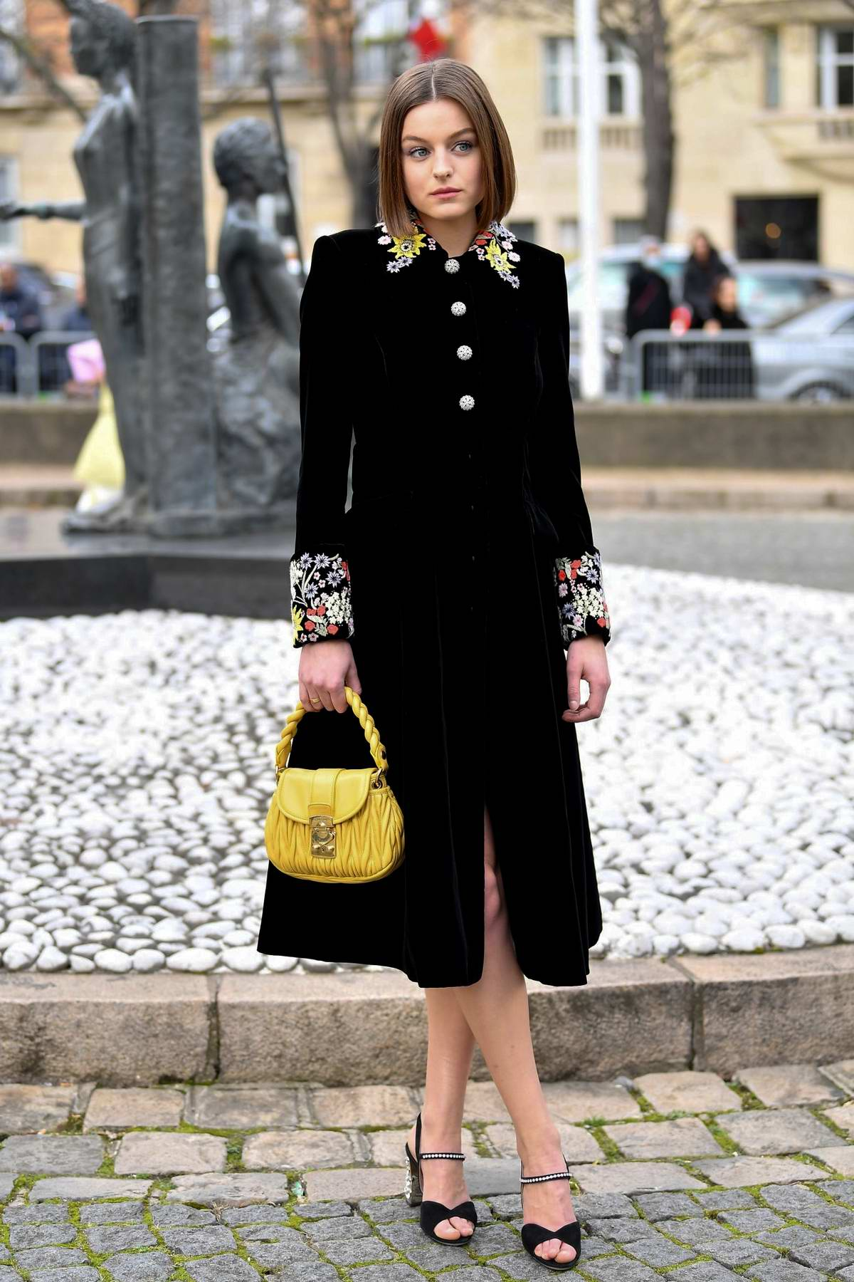Emma Corrin attends the Miu Miu fashion show, F/W 2020 during Paris Fashion Week in Paris, France