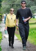 Emma Roberts and Garret Hedlund head out for a hike on the hills of the Griffith Observatory in Los Angeles