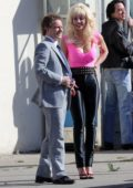 Emmy Rossum and Martin Freeman spotted while filming on the set of 'Angelyne' in Los Angeles