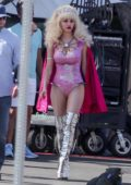 Emmy Rossum seen filming a flying saucer scene for 'Angelyne' in Los Angeles