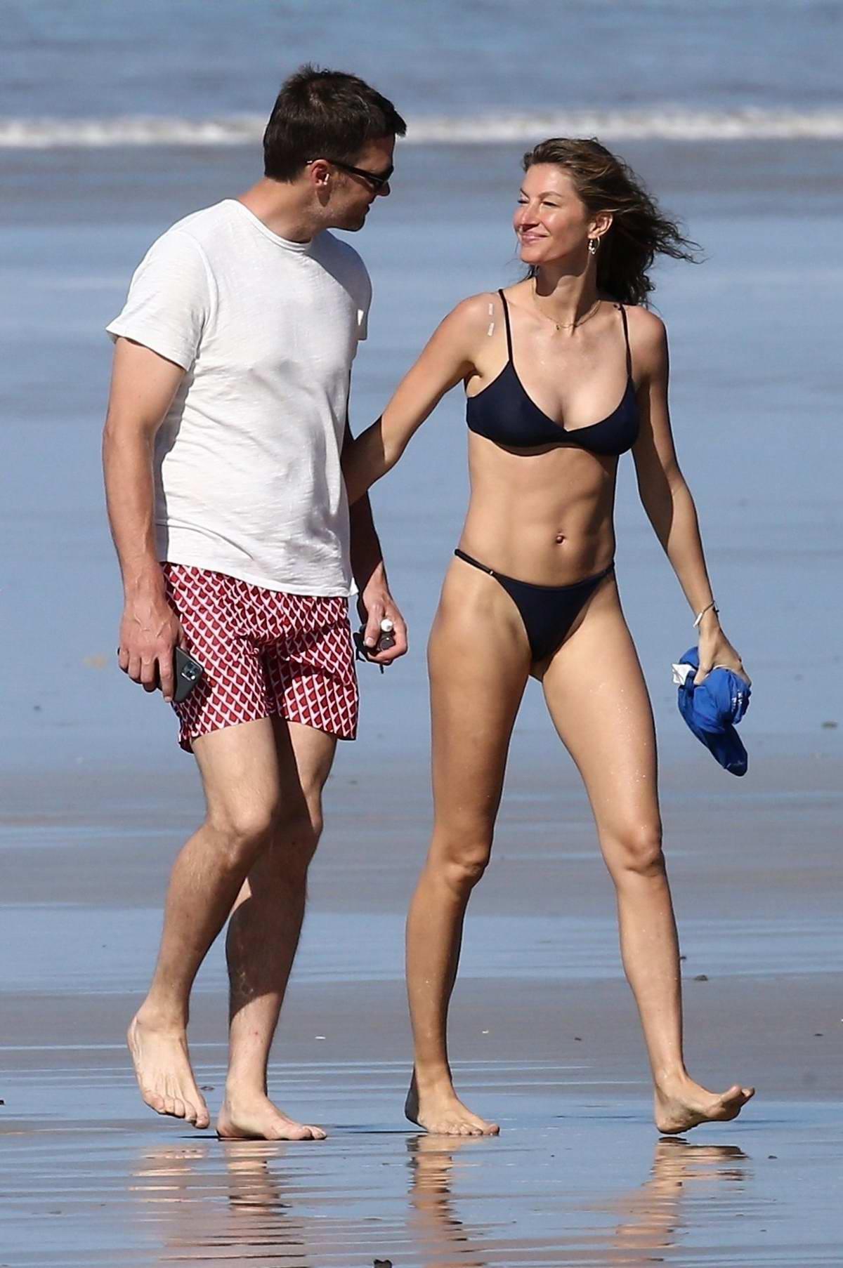 Gisele Bundchen stuns in a blue bikini during a beach day with Tom Brady in Costa Rica